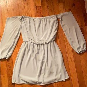 Off the shoulder aqua dress